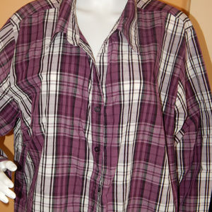 Woman's White Stag Button Front Blouse  3X